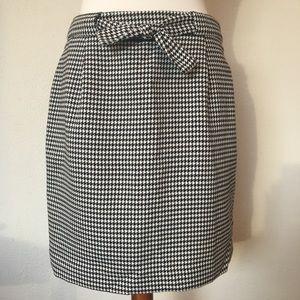 Loft Black & White Houndstooth Lined Skirt